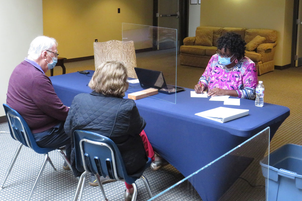 Staff members at St. John's United Methodist Church, in Rock Hill, South Carolina, have been helping people schedule times for COVID-19 vaccinations. Photo courtesy of St. John's United Methodist Church.