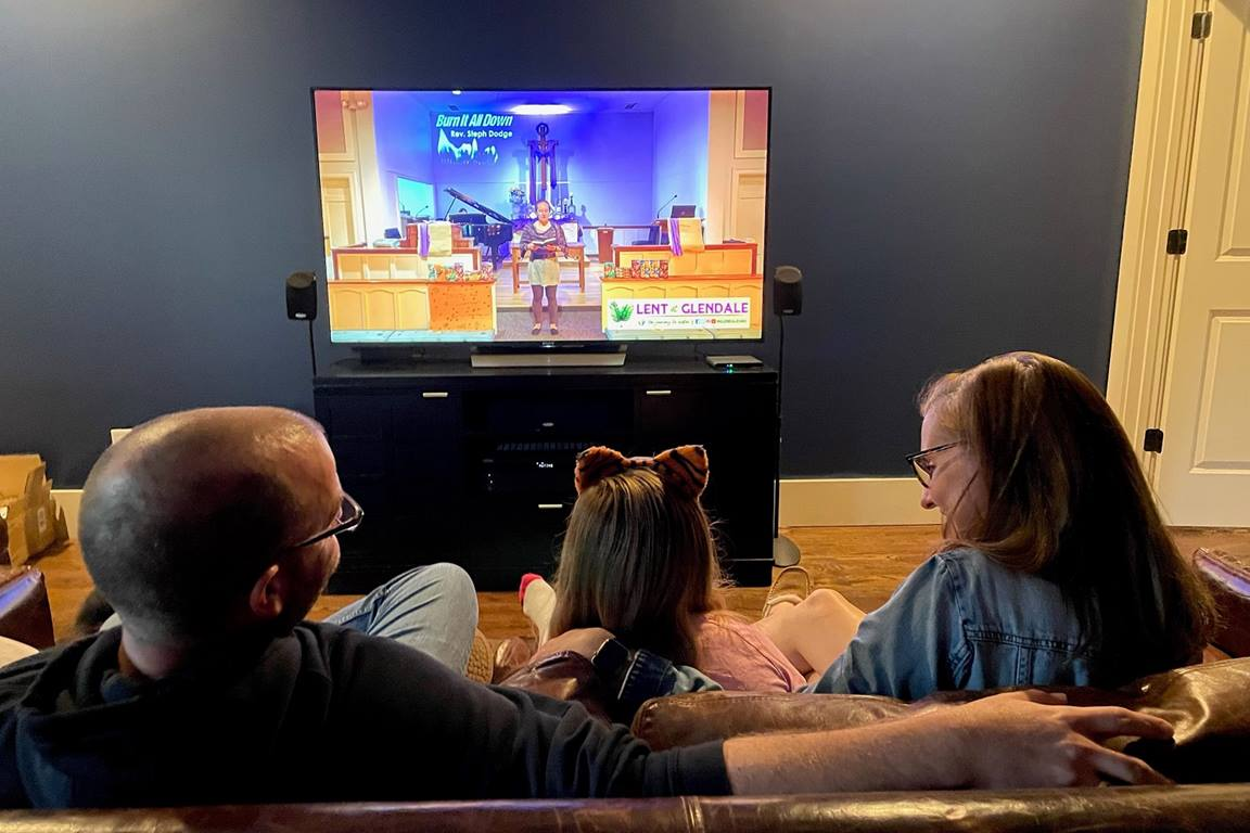 The Murdock family, members at Glendale United Methodist Church in Nashville, Tennessee, have stayed connected to their church through online worship services throughout the COVID-19 pandemic. Photo by Steven Kyle Adair, United Methodist Communications.