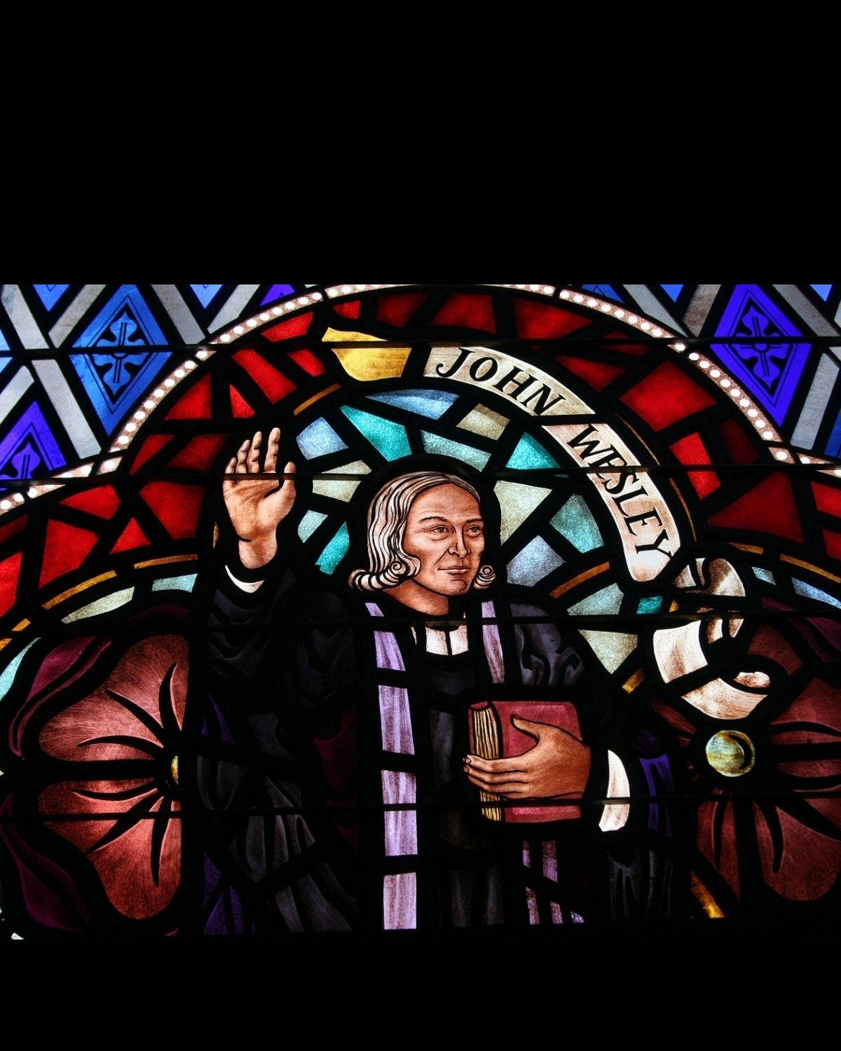 John Wesley stained glass. Photo by Ronny Perry, UMNS