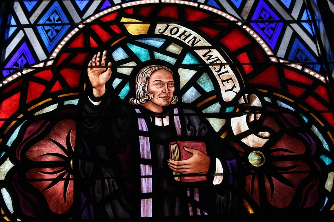 John Wesley stain glass, photo by Ronny Perry, UMNS