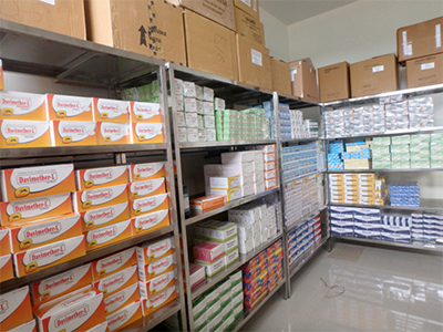 The blessings of a fully stocked, well-organized medicine and supply room, Quessua Hospital, East Angola. Photo: East Angola Health Board.