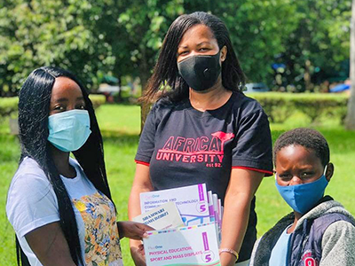 Inspired by how much the UMC is investing in them, AU students have taken their servant leadership to the next level--distributing food, medicine and school supplies, and assisting children and the elderly--since the onset of the coronavirus pandemic. Courtesy photo.