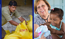 Relief supplies in Philippines; doctor and patient in Brazil. Photo by Mike DuBose, UM News.