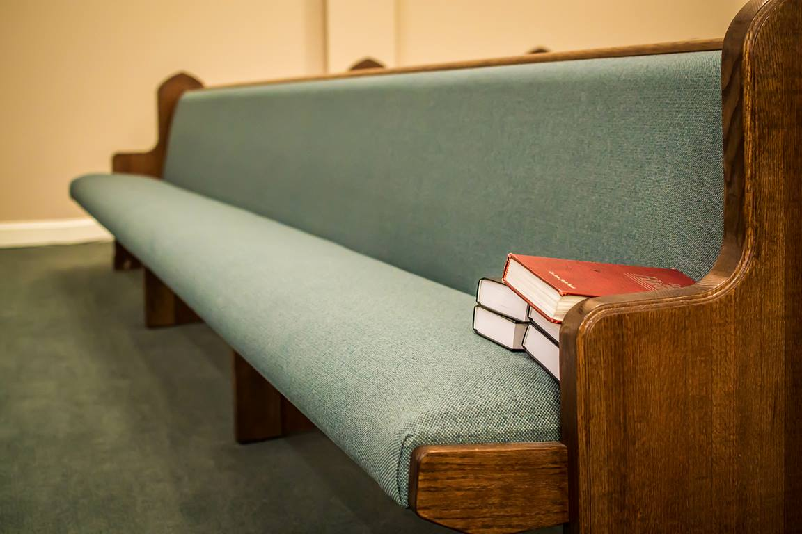 Church pews are and sanctuaries are ready for us.