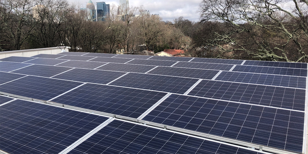 Solar array on the rooftop of Global Ministries' headquarters in Atlanta, GA. Photo: Jenny Phillips.
