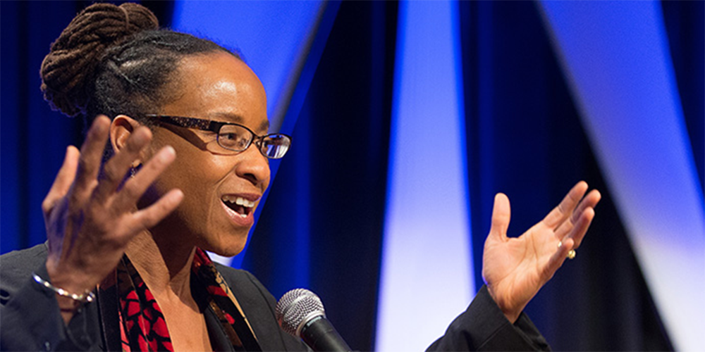 The Rev. Kennetha Bigham-Tsai addresses the Pre-General Conference Briefing in Portland, Ore., in 2016. Bigham-Tsai is chief connectional ministries officer for the United Methodist Connectional Table, which unanimously approved plans to host conversations around the globe about the church's vision and mission. File photo by Mike DuBose, UM News.