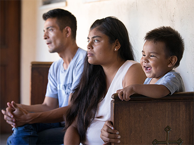 Jose Antonio Marchas Novela recounts the threats of violence that caused him to flee Mexico with his wife, Irlanda Lizbeth Jimenez Rodriguez, and their 1-year-old son, Jose Antonio in 2018. The family took shelter at the Christ United Methodist Ministry Center in San Diego while seeking asylum. The United Methodist Board of Global Ministries has allocated $1.1 million to aid asylum seekers in the U.S. File photo by Mike DuBose, UM News
