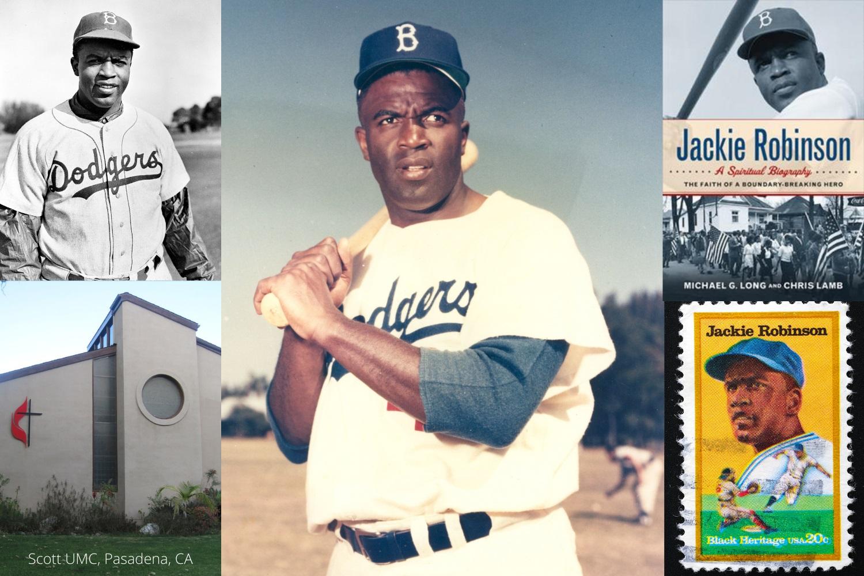 야구의 전설로 불리는 재키 로빈슨은 메이저리그의 인종차별 철폐를 도왔던 인물이다. 그의 전설적 커리어 내내 그는 감리교 신앙을 붙들었다. 사진 제공: 크리스털 캐비니스, Canva 콜라주, 연합감리교회 공보부.