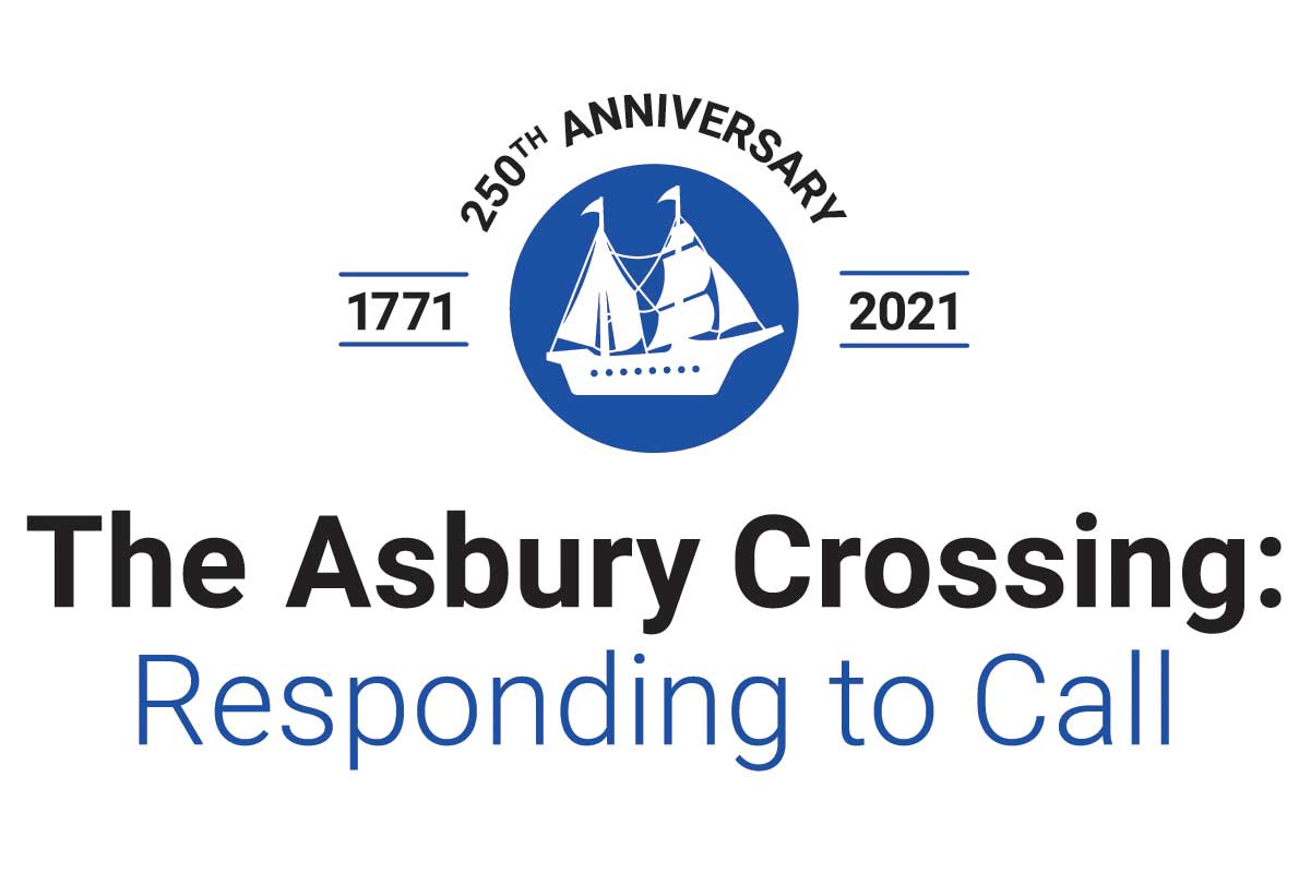 The Asbury Crossing: Responding to Call commemorates the 250th anniversary of Francis Asbury's journey from England to America. Logo by United Methodist Communications.