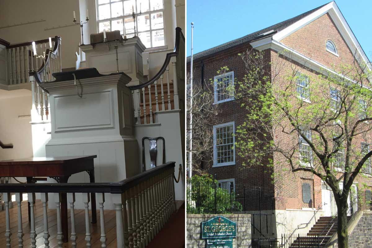 September-October 2021 is the 250th anniversary of Francis Asbury's journey from Bristol, England (l) to Philadelphia (r). Bristol photo by Joe Iovino, United Methodist Communications. Philadelphia photo via Wikimedia Commons.