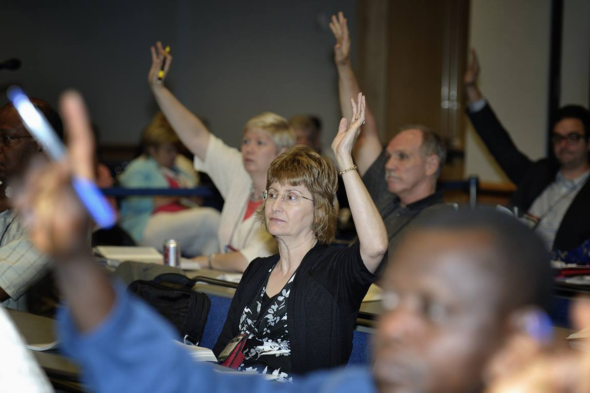Committee members vote on proposed legislation during the 2012 United Methodist General Conference. Similarly, in the local church those elected to serve on a committee have voice and vote when the committee makes decisions. Photo by Paul Jeffrey, UM News.