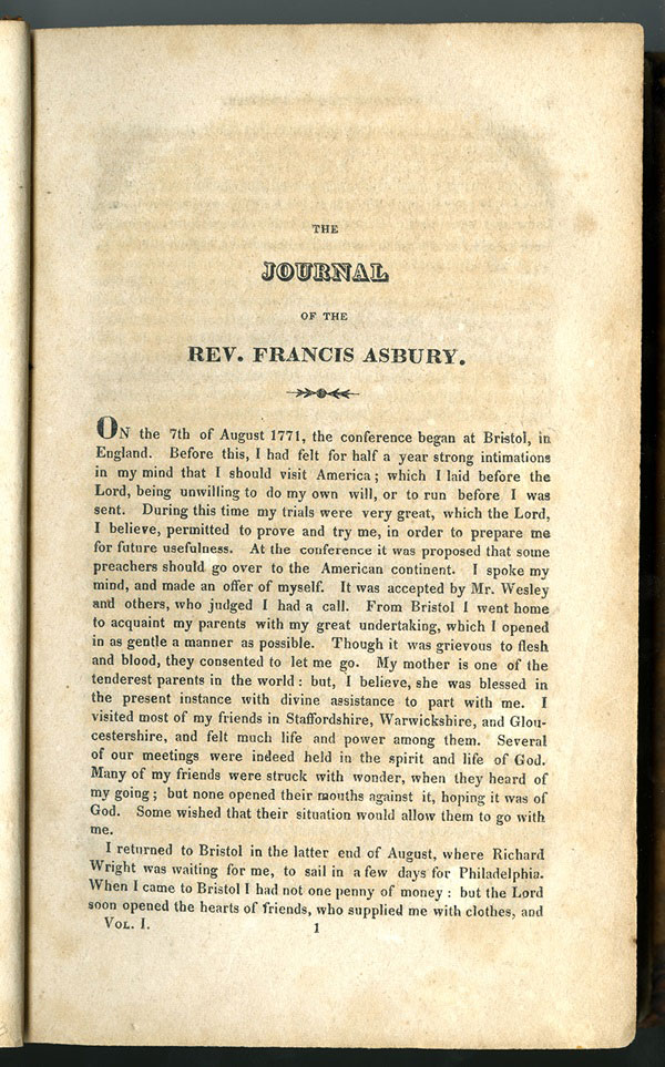 Francis Asbury's published journal begins with his telling of how in August 1771, he was selected to go to America. Image from 1821 version at Bridwell Library, Perkins School of Theology at Southern Methodist University (https://www.smu.edu/Bridwell/SpecialCollectionsandArchives/Exhibitions/Asbury/Journal).