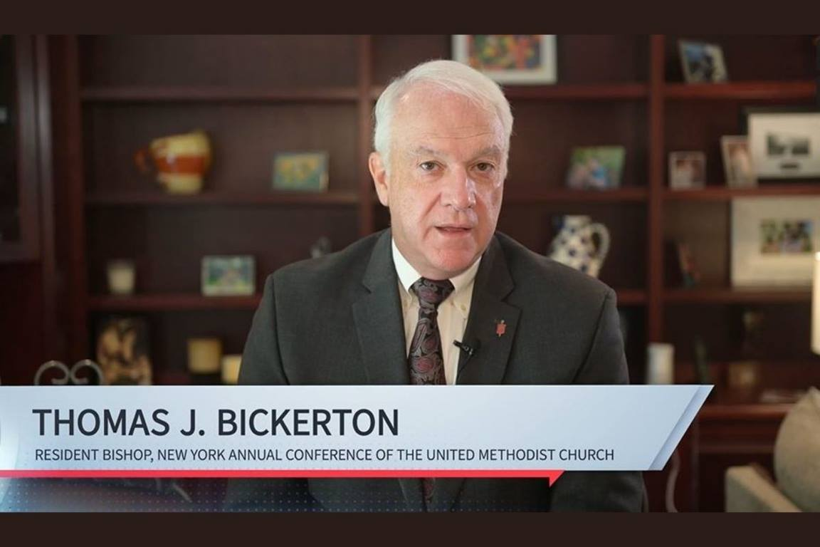 In a video reflection, Bishop Tom Bickerton, who serves the New York Area, talked about the plane that went down in Shanksville near where he calls home and, how three years later, he would become the bishop of Western Pennsylvania and then of New York. (Image courtesy of the Council of Bishops.)