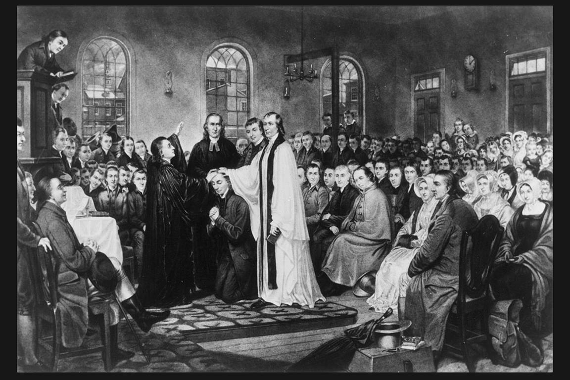 The ordination of Bishop Francis Asbury performed by Bishop Thomas Coke in Baltimore, Md., at the Christmas Conference, the historic meeting establishing the Methodist Episcopal Church of the United States in 1784. An engraving by A. Gilchrist Campbell from a painting by Thomas Coke Ruckle, 1882. Courtesy of the Drew University Methodist Collection (Madison, New Jersey) via Wikimedia Commons.