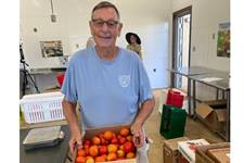 Society of St. Andrew and United Methodists across the connection partner to address food insecurity through the Old Testament practice of gleaning. Mike Smith, member at Concord United Methodist Church, is a long-time volunteer gleaner.  Photo by Stacey Hagewood, United Methodist Communications.